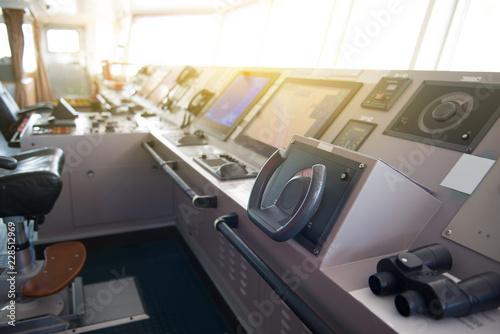 The control room of ship's bridge. Canvas Print