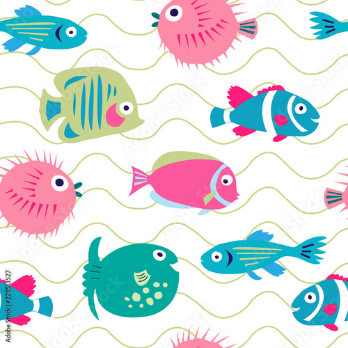 Aluminium Prints Submarine Cute seamless pattern with funny coral fish