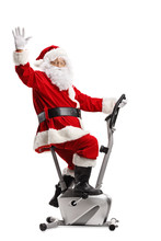 Santa Claus Exercising On A St...