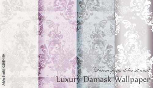 Fototapeta Vintage floral baroque pattern set collection Vector. Beautiful ornament decor. Royal luxury texture floral backgrounds. Pastel colors obraz na płótnie