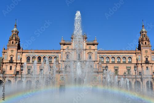 Poster Artistique Fountain on Plaza de Espana - Spanish Square in Seville, Andalusia, Spain
