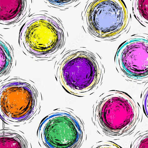 seamless circles and dots background pattern, strokes and splashes, multicolored