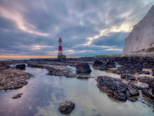 Beachy Head Lighthouse At Sunset Into The Blue Hour - Stitched Panorama Processed With HDR - East Sussex, UK