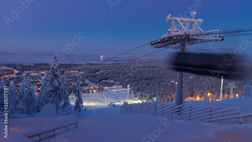 View of Levi village in Finland in twilight, modern ski resort in Lapland Poster Mural XXL