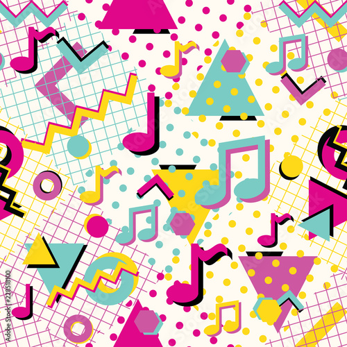 Tela  Colorful abstract 80s style seamless pattern with musical notes