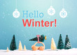 Hello winter message with little car carrying a Christmas tree