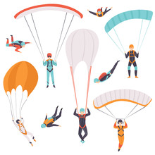 Skydiving Men Falling Through The Air With Parachutes Set, Extreme Sport, Leisure Activity Concept Vector Illustration On A White Background