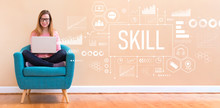 Skill With Young Woman Using Her Laptop In A Chair