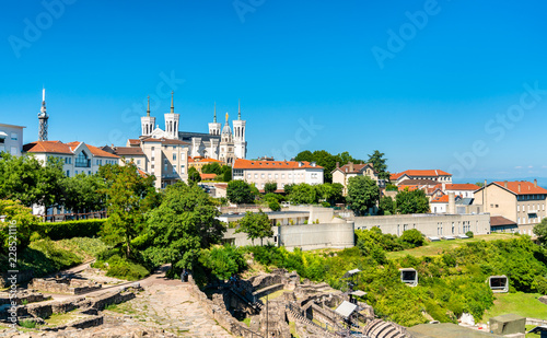 Foto op Plexiglas Europa The Ancient Theatre and the Notre-Dame Basilica at Fourviere - Lyon, France