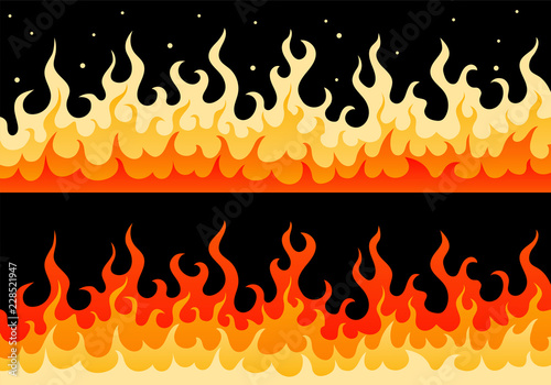 Flat vector wall of fire flame illustration  Two cartoon