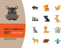 Wild Animals Icon Set. Bear Pa...