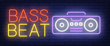 Bass Beat Neon Text With Boombox. Modern Music And Youth Culture Advertisement Design. Night Bright Neon Sign, Colorful Billboard, Light Banner. Vector Illustration In Neon Style.