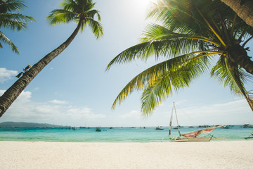 Perfect white sand beach in Boracay, Philippines. Coconut Palm trees against blue sky, boat in ocean. Sunny weather. Travel Background. Nature landscape. Holiday and recreation on exotic island resort