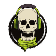 Skull With Headphones And Scarf
