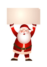 Santa Claus Holding Banner Vector Illustration. Holiday Sale, Invitation, Greeting Card. Christmas Concept. Vector Illustration Can Be Used For Topics Like Holiday, Advertising, Shopping