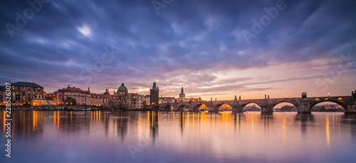 Keuken foto achterwand Historisch geb. Charles Bridge with Prague Castle after sunset. Europe, Czech republic.