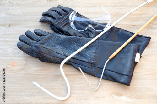 Protective gloves, goggles and a hook for working with venomous snakes on the background of natural wood Canvas Print