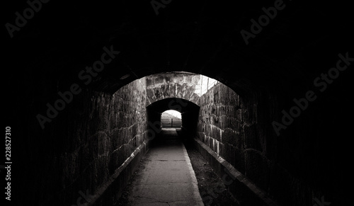 Old creepy underground stone tunnel. Halloween Locations
