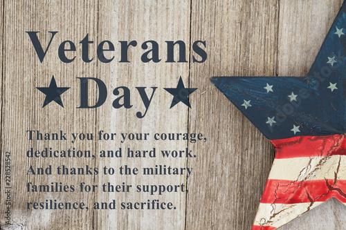 Fotografie, Obraz  Veterans Day message with retro USA star