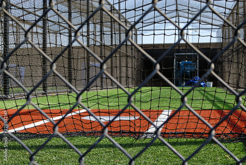 Fotografie, Obraz  Home plate of a batting practice cage.