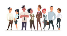 Collection Of Charming Young Businessmen And Managers. Flat Modern Cartoon Style.