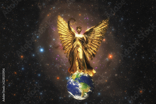 Fototapeta  Illustration Fantasy Art of A Beautiful Golden Angel Spreads Her Wings over The