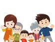 集合する家族 秋服