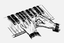 Sketch Of Piano Keys. Hand Dra...