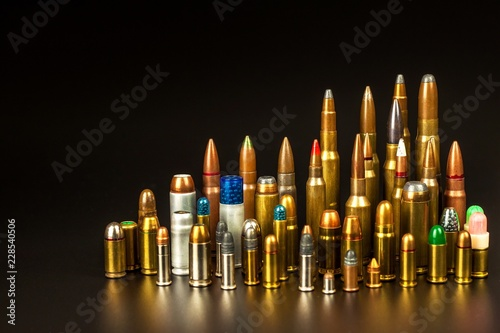 Different types of ammunition on a black background Canvas Print