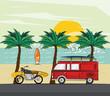 van motorcycle and surf in the beach