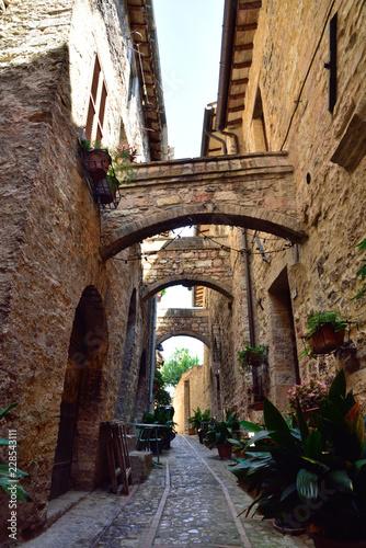 Fototapeta Floral streets of Spello in Umbria, Italy. obraz
