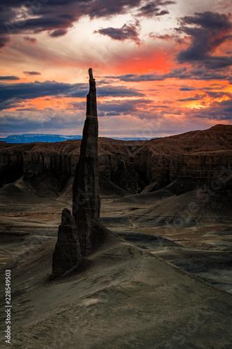 Surreal spire in the Utah Desert, USA.