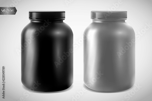 Carta da parati Realistic vector sport nutrition containers without label