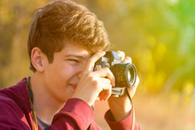 Young Teenager Making A Photo ...