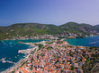 Poros island in Greece. Aerial drone photo