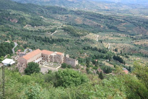 Ruin of Despot palace, abandoned city Mystras, Peloponnese, Greece