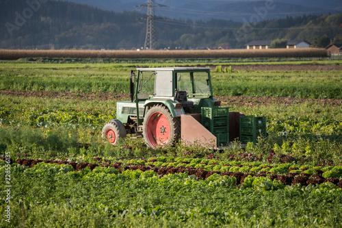 Photo  Traktor auf Acker, Landwirtschaft
