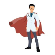 Cartoon Super Hero Doctor With...
