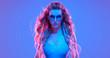 canvas print picture Warrior woman in Fashion neon light. Creative Art