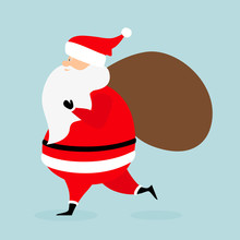 Santa Claus Running With A Bag Of Gifts