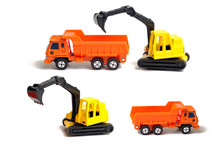 Yellow Crawler Excavator And Orange Dump Truck Isolated On White Background. Plastic Children's Toy On A White Background. Construction Equipment. Children's Toy.