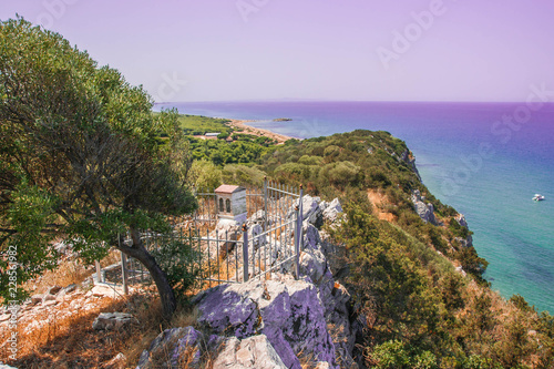 Tuinposter Purper Beautiful landscape with a sea at Kalogria on Peloponnese, Greece