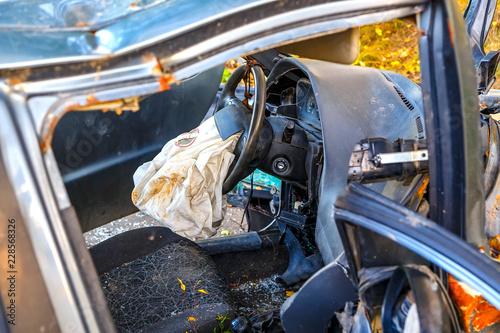 Crash car, deployed airbag closeup Wallpaper Mural