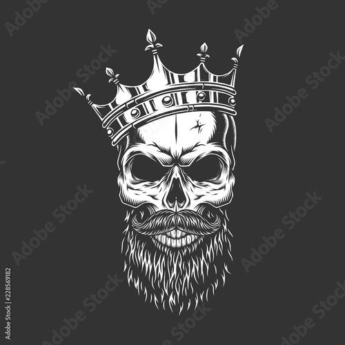 Vintage monochrome prince skull in crown Fototapete