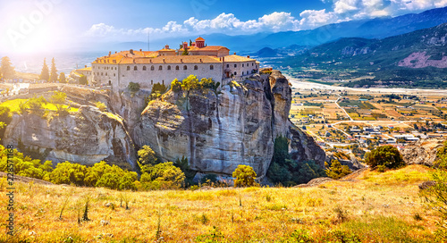 Meteora monasteries, Greece Kalambaka. UNESCO World Heritage site. Colorful landscape. Monastery of St. Stephen Iera Moni Agiou Stefanou