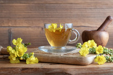 A Cup Of Mullein Tea With Fresh Blooming Mullein