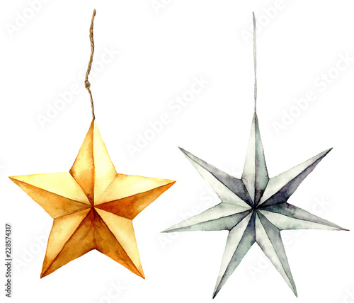 Obraz Watercolor stars decoration. Hand painted gold and silver stars isolated on white background. Christmas toys. Holiday modern decor illustration. - fototapety do salonu