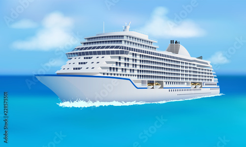 Great cruise liner, ocean, blue sky in flat style Canvas Print