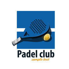 Tennis Padel Racket. Blue Logo