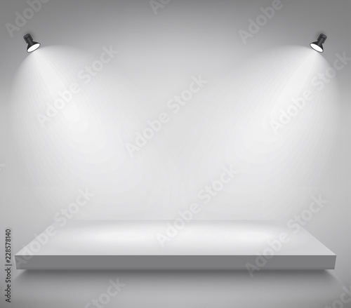 Photo Product presentation podium, white stage, Empty white pedestal, blank template mockup
